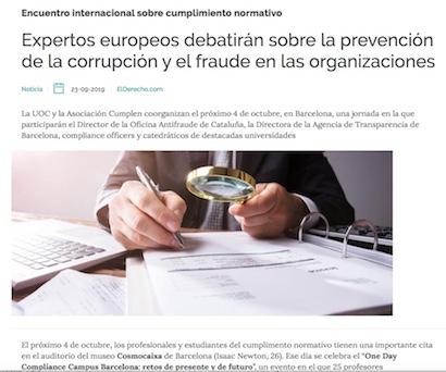 Expertos europeos debatirán sobre la prevención de la corrupción y el fraude en las organizaciones