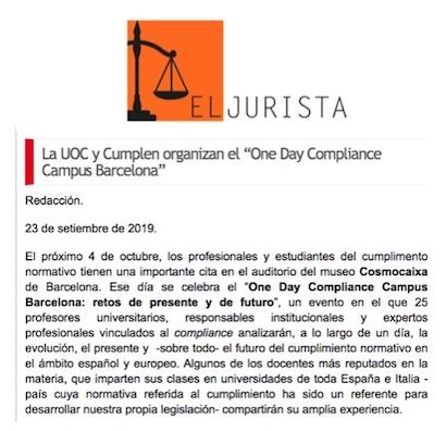"""La UOC y Cumplen organizan el """"One Day Compliance Campus Barcelona"""""""