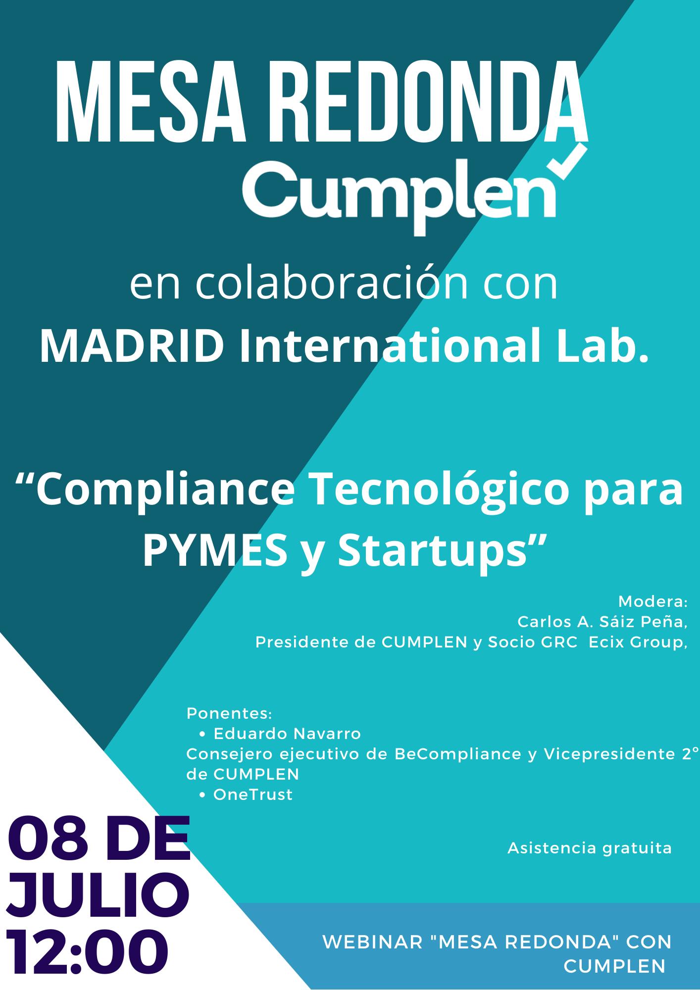 Mesa redonda CUMPLEN: Compliance Tecnológico para PYMEs y Startups