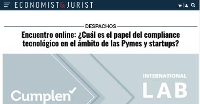 Encuentro online: ¿Cuál es el papel del compliance tecnológico en el ámbito de las Pymes y startups?. FUENTE: economistjurist.es