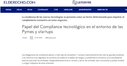 Papel del Compliance tecnológico en el entorno de las Pymes y startups. FUENTE: elderecho.com