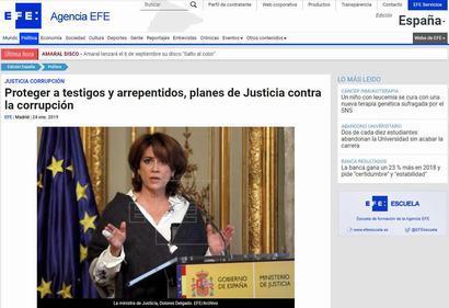 Proteger a testigos y arrepentidos, planes de Justicia contra la corrupción. Información publicada en la Agencia EFE