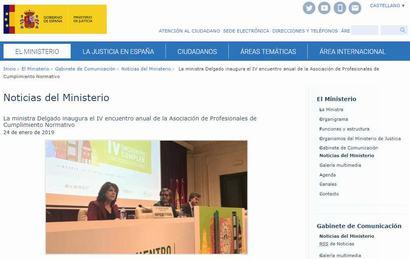 La ministra Delgado inaugura el IV encuentro anual de la Asociación de Profesionales de Cumplimiento Normativo. Noticia publicada en la web del Ministerio de Justicia