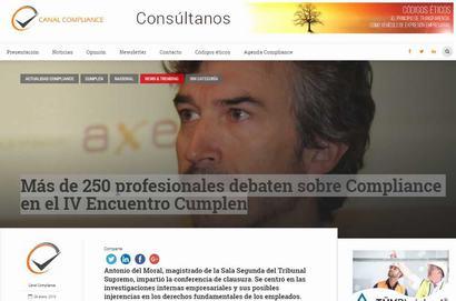 Más de 250 profesionales debaten sobre Compliance en el IV Encuentro Cumplen. Información publicada en Canal Compliance