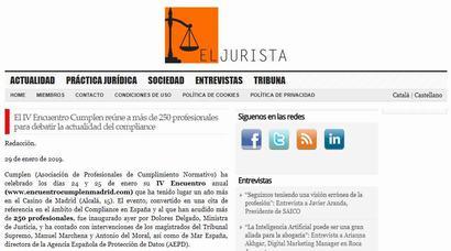 El IV Encuentro Cumplen reúne a más de 250 profesionales para debatir la actualidad del compliance. Información publicada en El Jurista