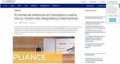 El evento de referencia en Compliance vuelve con su versión más integradora e internacional. Información publicada en ElDerecho.com