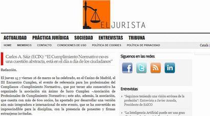 """Carlos A. Sáiz (ECIX): """"El Cumplimiento Normativo no es una cuestión abstracta, está en el día a día de los ciudadanos"""". Información publicada en El Jurista"""