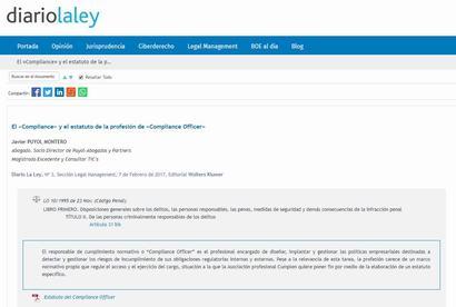 """El """"Compliance"""" y el estatuto de la profesión de """"Compliance Officer"""". Artículo de Javier Puyol Montero en diariolaley"""