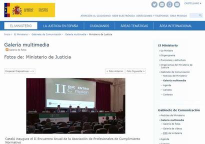 Catalá inaugura el II Encuentro Anual de la Asociación de Profesionales de Cumplimiento Normativo. Noticia publicada en la web del Ministerio de Justicia