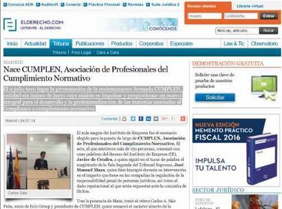Nace Cumplen, Asociación de Profesionales del Cumplimiento Normativo. Información publicada en ElDerecho.com