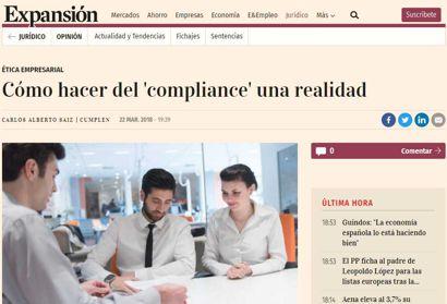 """Cómo hacer del """"compliance"""" una realidad. Tribuna del presidente de Cumplen, Carlos Alberto Sáiz Peña, publicada en Expansión"""