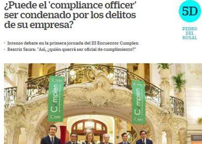 """¿Puede el """"compliance officer"""" ser condenado por los delitos de su empresa? Información publicada en Cinco Días"""