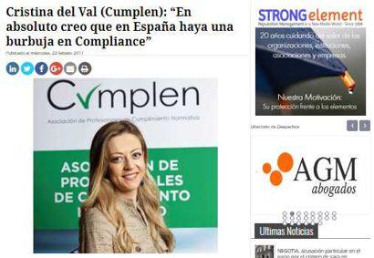 "Cristina del Val (Cumplen): ""En absoluto creo que en España haya una burbuja en Compliance. Entrevista a Cristina del Val publicada en lawyerpress"