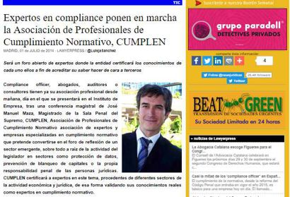 Expertos en compliance ponen en marcha la Asociación de Profesionales de Cumplimiento Normativo, Cumplen. Información publicada en lawyerpress