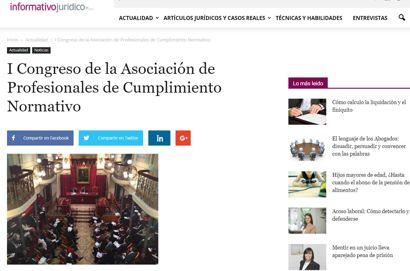 I Congreso de la Asociación de Profesionales de Cumplimiento Normativo. Información publicada en informativojuridico.com