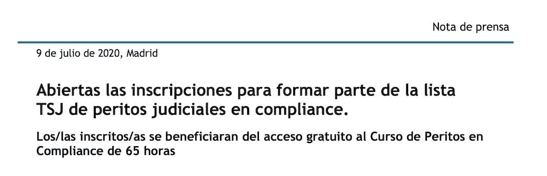 Abiertas las inscripciones para formar parte de la lista TSJ de peritos judiciales en compliance.